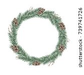 watercolor christmas wreath of... | Shutterstock . vector #739741726