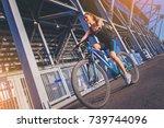 Sporty Girl Cyclist Riding A...