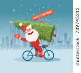 cute santa claus on bicycle... | Shutterstock .eps vector #739745212