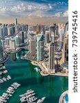 dubai marina skyline aerial... | Shutterstock . vector #739745416
