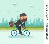 businessman riding a bicycle on ... | Shutterstock .eps vector #739745776