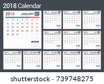 2018 calendar  12 pages  vector ... | Shutterstock .eps vector #739748275