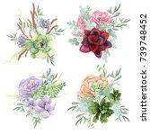 a set of watercolor... | Shutterstock . vector #739748452