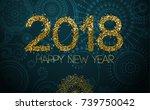 happy new year 2018 in...   Shutterstock .eps vector #739750042