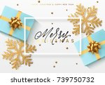 christmas background with gifts ... | Shutterstock .eps vector #739750732