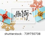 christmas background with gifts ... | Shutterstock .eps vector #739750738