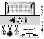 soccer goal and ball and set of ... | Shutterstock .eps vector #739751482