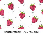 raspberries seamless pattern.... | Shutterstock .eps vector #739753582