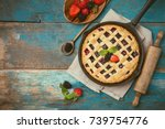 homemade traditional berry pie... | Shutterstock . vector #739754776
