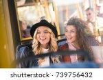 beautiful happy young women... | Shutterstock . vector #739756432