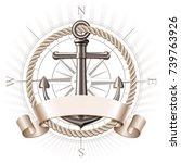 nautical emblem with metal... | Shutterstock . vector #739763926
