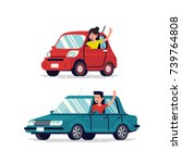 happy people driving cars and... | Shutterstock .eps vector #739764808