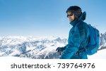 skier enjoying the stunning... | Shutterstock . vector #739764976
