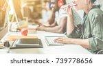 young teamwork using computer... | Shutterstock . vector #739778656