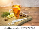 a cup of tea with lemon  a... | Shutterstock . vector #739779766