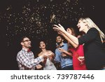 group of people having a party... | Shutterstock . vector #739787446
