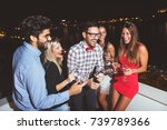 group of people having a party... | Shutterstock . vector #739789366