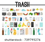 big collection of trash and... | Shutterstock .eps vector #739795276