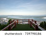 wooden terrace with top view of ... | Shutterstock . vector #739798186