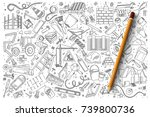hand drawn set of building... | Shutterstock .eps vector #739800736