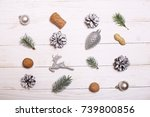 decorations and christmas tree... | Shutterstock . vector #739800856