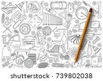 hand drawn set of car service... | Shutterstock .eps vector #739802038