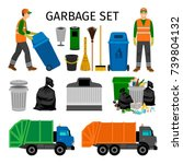 garbage trucks  trash can and... | Shutterstock .eps vector #739804132