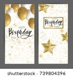 happy birthday design.white and ... | Shutterstock .eps vector #739804396