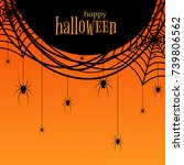 a poster with a spider web and... | Shutterstock .eps vector #739806562