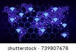 blue glowing hexagon grid world ... | Shutterstock . vector #739807678