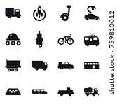 16 vector icon set   truck ... | Shutterstock .eps vector #739810012