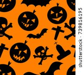 seamless halloween background ... | Shutterstock .eps vector #739816195
