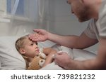 cropped shot of father touching ... | Shutterstock . vector #739821232