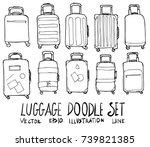 set of luggage illustration...   Shutterstock .eps vector #739821385