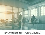 white brick open space office... | Shutterstock . vector #739825282