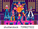 rock band on stage. rock...   Shutterstock .eps vector #739827322