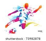 soccer player kicks the ball.... | Shutterstock .eps vector #73982878
