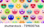 abstract cute emoji pattern.... | Shutterstock .eps vector #739830766