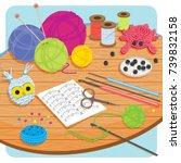 worktable for knitting and...   Shutterstock .eps vector #739832158