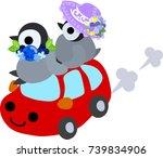 the stylish pretty penguin... | Shutterstock .eps vector #739834906