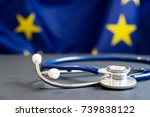 stethoscope with european union ... | Shutterstock . vector #739838122
