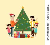 family in the christmas day and ... | Shutterstock .eps vector #739841062