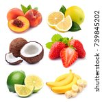 collection of fresh fruits... | Shutterstock . vector #739845202