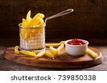 french fries with ketchup on... | Shutterstock . vector #739850338