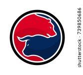 Bear And Bull Vector Logo. Ico...