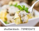 homemade porcini pasta on... | Shutterstock . vector #739852672