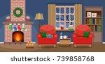 cozy living interior christmas...   Shutterstock .eps vector #739858768