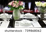 festive laid table  decorated... | Shutterstock . vector #739868062