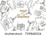christmas background with hand... | Shutterstock .eps vector #739868326