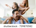 happy family having fun times... | Shutterstock . vector #739870582